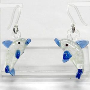 いるか イルカ 畜光タイプ ガラス細工 雑貨 ピアス|enoshimahook