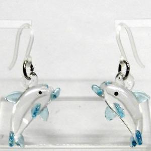 いるか イルカ クリアブルー ガラス細工 雑貨 ピアス|enoshimahook