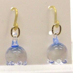 くらげ クラゲ(海月) ブルー ガラス細工 雑貨 ピアス|enoshimahook