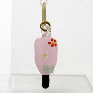 お正月のピアス 羽子板 花柄 L ガラス細工 雑貨 アクセサリー|enoshimahook