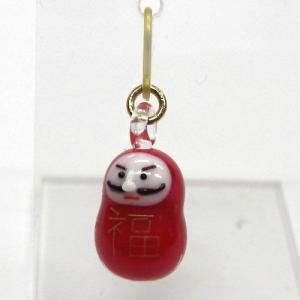 お正月のピアス だるま ガラス細工 雑貨 アクセサリー|enoshimahook
