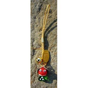 おめでたい江の島の獅子舞ストラップ! 福を呼ぶ縁起物です!  ※一つ一つ手作りのため、大きさや色合い...