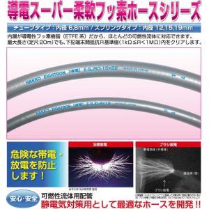 20m導電スーパー柔軟フッ素チューブ E-SJD-8×12可燃性液体の移送に伴う静電気を使用長さに関わらず安全に除電できる(法人様限定)配送無料|ensin