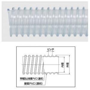 透明タイダクトホースGL-ST型φ38×1m軽量、柔軟性、静電気帯電防止効果に優れています(法人様限定)|ensin