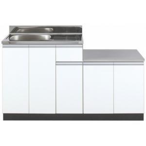 ガス台付流し台KW-1400SG 色:ホワイト ■間口1400mm ■サイズ W1400(800+6...