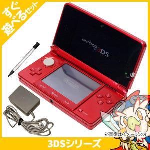 3DS ニンテンドー3DS メタリックレッド(CTRSRDBA) 本体 すぐ遊べるセット Nintendo 任天堂 ニンテンドー 中古 送料無料 entameoukoku