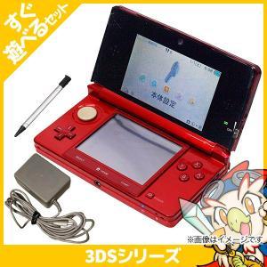 3DS ニンテンドー3DS フレアレッド(CTR-S-RAAA) 本体 すぐ遊べるセット Nintendo 任天堂 ニンテンドー 中古 送料無料|entameoukoku