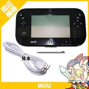 WiiU ゲームパッド タッチペン付 互換USB充電ケーブル(新品ホワイト)付 クロ【中古】 entameoukoku