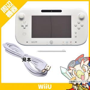WiiU ゲームパッド タッチペン付 互換USB充電ケーブル(新品ホワイト)付 シロ【中古】 entameoukoku