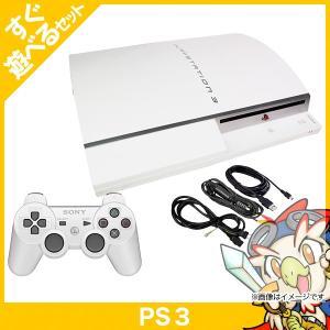 PS3 プレステ3 本体 すぐ遊べるセット 40GB セラミック・ホワイト 中古 送料無料|entameoukoku