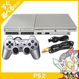 PS2 プレステ2 プレイステーション2 サテンシルバー SCPH-90000SS 本体 すぐ遊べるセット コントローラー付き PlayStation2 SONY ソニー 中古 送料無料|entameoukoku