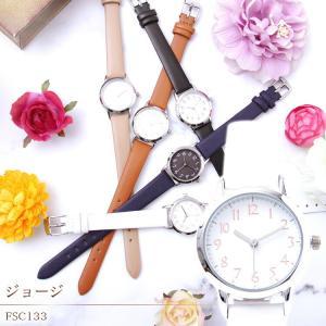 腕時計 レディース おしゃれ ジョージ ホワイト/ベージュ/キャメル/ネイビー/ブラック/FSC133 メール便発送 時計 女性用 プレゼント ギフト enteron-kagu-shop
