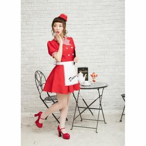クリスマス ウェイトレス コスプレ レッドダイナーガール ダイナー チェリーダイナー アメリカン ダイナー 衣装 仮装 可愛い おしゃれ お洒落 パーティー|enteron-kagu-shop|15