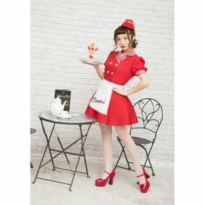 ハロウィン ウェイトレス コスプレ レッドダイナーガール ダイナー チェリーダイナー アメリカン ダイナー 衣装 仮装 可愛い おしゃれ お洒落 パーティー|enteron-kagu-shop|19