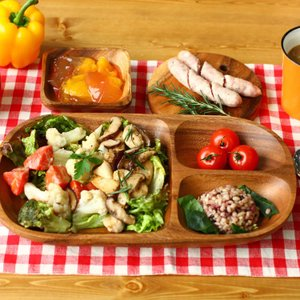 4枚セット 天然木アカシア食器 レクタングルトレー アカシア レクタングルトレー L 仕切付 95846 アカシア キッチン 食卓 食器 お皿 トレー ランチ ディナー|enteron-kagu-shop|02
