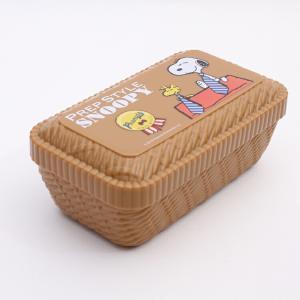 弁当箱 スヌーピー ラタンバスケット風ふわっとランチボックス SNOOPY プレッピースタイル/LLN6 キャラクター スヌーピー 弁当箱 子ども 子供 ラタン|enteron-kagu-shop