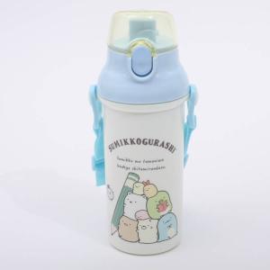 水筒 すみっコぐらし 食洗機対応直飲みプラワンタッチボトル すみっコぐらし おべんきょう/PSB5SAN 軽量 プラスチック 直飲み 紐付き ベルト付き 保冷 子供 omk|enteron-kagu-shop