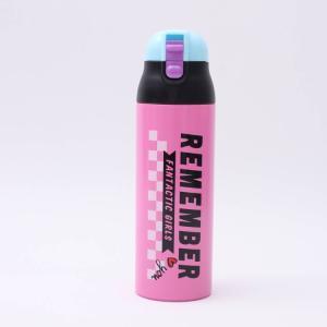 水筒 おしゃれ ワンプッシュステンマグボトル POPロゴ REME/SDPC5 軽量 コンパクト 直飲み ワンタッチ 水筒 オシャレ ピンク ステンレスボトル 保冷 保温|enteron-kagu-shop