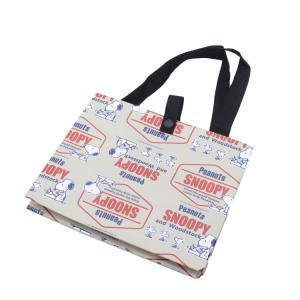 スヌーピー エコバッグ 弁当用エコバッグ スヌーピー レトロラベル/KCL1 ランチバッグ お弁当袋 普段使い おでかけ 底広 かばん 手提げバッグ サブバッグ|enteron-shop2