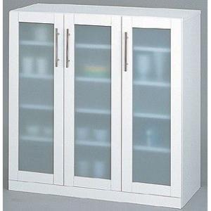 キッチン 収納棚 カトレア食器棚90-90 要組立 23464|enteron-shop