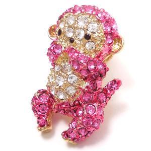 キラキラ ブローチ 三猿 言わざる ピンク|entiere