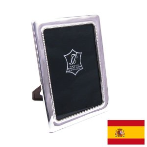 名入れ刻印シルバーフォトフレーム(刻印別料金) ドットパターン:窓サイズ8.5cm×12.5cm スペイン:イザベル社製|entiere