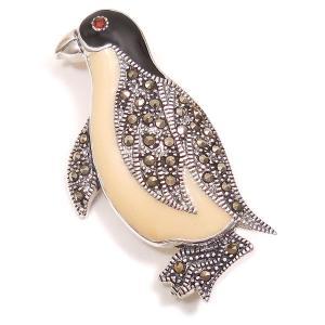 シルバーブローチ ペンギン ガーネット&マーカサイト|entiere