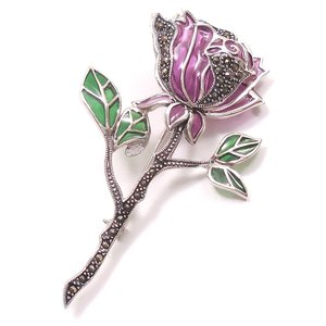 シルバーブローチ 紫の薔薇 マーカサイト|entiere