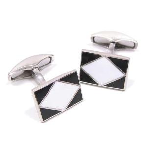 カフスボタン カフリンクス シルバー925 ひし形 ブラック/ホワイト イタリア製 ベルフィオーレ メンズ プレゼント ギフト|entiere