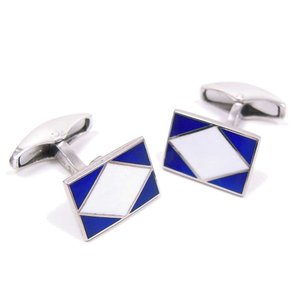 カフスボタン カフリンクス シルバー925 ひし形 ブルー/ホワイト イタリア製 ベルフィオーレ メンズ プレゼント ギフト|entiere