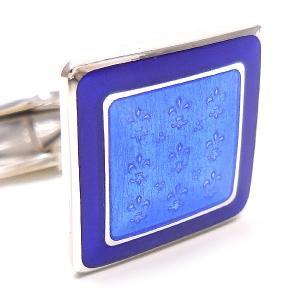 カフスボタン カフリンクス リリー模様 ブルー枠 シルバー925 ベルフィオーレ entiere 02
