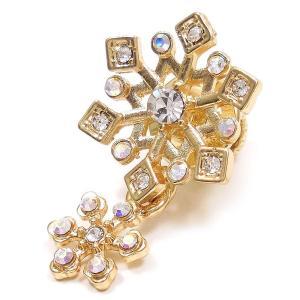 ピンブローチ ラペルピン 雪の結晶&結晶 ゴールドカラー|entiere