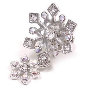 ピンブローチ ラペルピン 雪の結晶&結晶 シルバーカラー|entiere