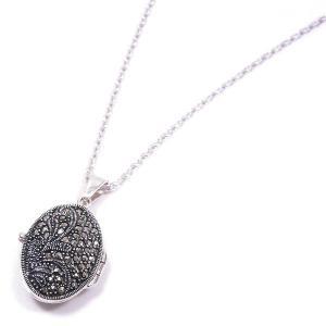 アロマペンダント ネックレス だ円型 マーカサイト 小 シルバー925|entiere