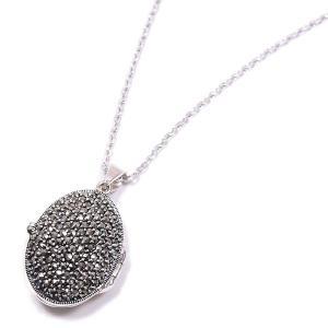アロマペンダント ネックレス だ円型 マーカサイト 大 シルバー925|entiere