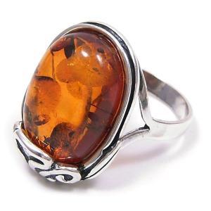 リング 指輪 レディース 琥珀 コハク だ円型 14号 シルバー925 entiere