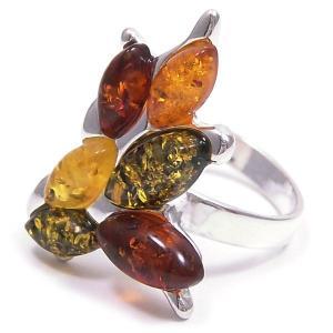 リング 指輪 レディース 琥珀 コハク 枝葉 14号 シルバー925 entiere