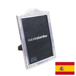 名入れ刻印フォトフレーム(刻印別料金) ローズパターン:窓サイズ8.5cm×12.5cm シルバーメッキ スペイン:イザベル社製|entiere