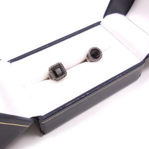 ペアブローチ ラペルピン シルバー925 スクエア&丸型セット ブラック プレゼント ギフト|entiere