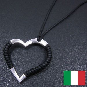 オープンハートのシルバーペンダント:黒 イタリア製 レディース entiere