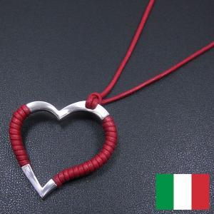 オープンハートのシルバーペンダント:赤 イタリア製 レディース entiere
