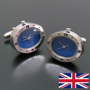 時計カフスボタン カフリンクス 青い文字盤 entiere