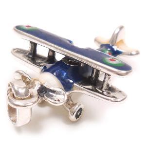 チャーム ペンダントトップ 飛行機 複葉戦闘機 ブルー シルバー925 サツルノ|entiere