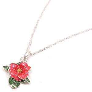 ネックレス レディース 花 ツバキ 椿 レッド ペンダント シルバー925|entiere