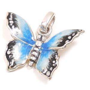 チャーム ペンダントトップ シルバー925 蝶々 チョウチョ ブルー イタリア製 サツルノ レディース|entiere