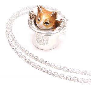 ネックレス レディース 帽子 猫 はちわれ 茶 61cm ペンダント シルバー925|entiere