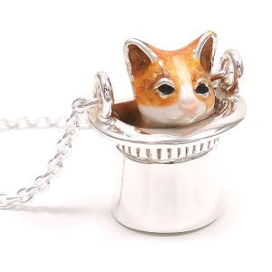ネックレス レディース 帽子 猫 はちわれ 茶 61cm ペンダント シルバー925|entiere|03