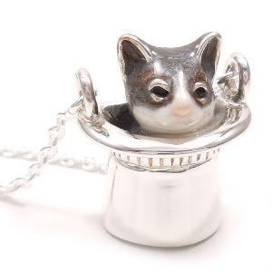 ネックレス レディース 帽子 猫 はちわれ 灰 61cm ペンダント シルバー925|entiere|03