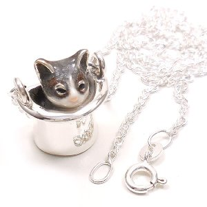 ネックレス レディース 帽子 猫 はちわれ 灰 61cm ペンダント シルバー925|entiere|05