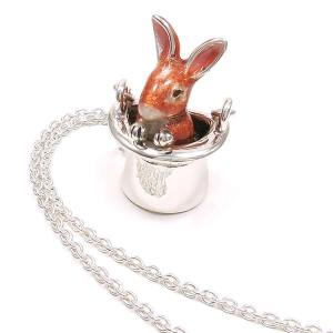 ネックレス レディース 帽子 ウサギ ブラウン ペンダント シルバー925|entiere